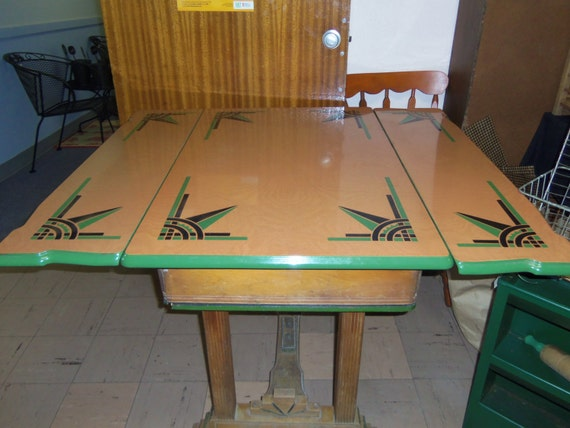 Hold Art Deco Enamel Top Kitchen Table Refractory Leaves Green