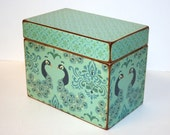 Recipe Box, Teal and Navy Box, Peacock Recipe Box, 4x6 Recipe Box, Handmade 4 x 6 Wooden Recipe Box, Address File, Wedding Guest Book Box