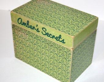 Recipe Box, Green Recipe Box, 4x6 Recipe Box, Handmade 4 x 6 Wooden Recipe Box, Keepsake Box, Address File, Wedding Guest Book Box