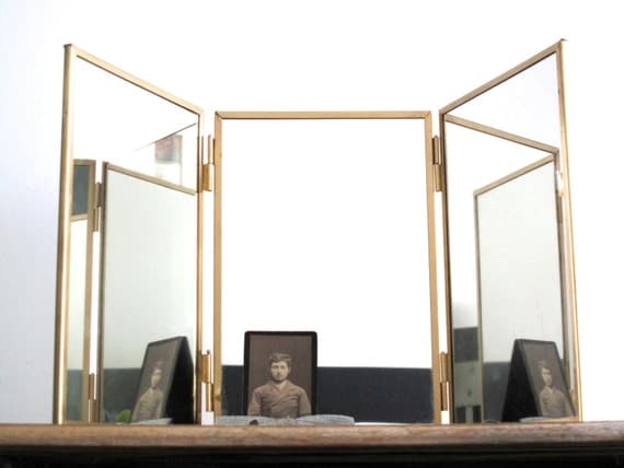 Vintage Triptych Mirror Gold Framed Trifold By SnapshotVintage
