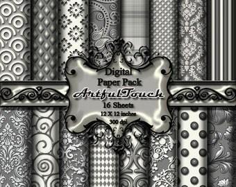 "Digital Paper, Digital Scrapbook Paper Pack, Gray White Damask ,16 Digital Paper, 12"" X 12"" - 300 DPI - INSTANT DOWNLOAD"