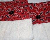 Hanging Kitchen Towel in a Red Bandana Print and a Cream Towel set of 2
