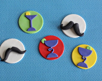 Fondant Margarita and Mustache Cupcake Decorations Perfect for a Cinco De Mayo Adult Party