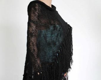 Black Wraparound Shawl, Black Fringe Scarf, Hand Knit Scarf