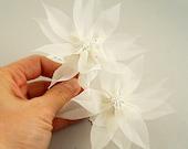 Pure Silk Bridal Hair Flower, Wedding Hair Flowers, Wedding Hairpiece, Swarovski Crystal Bridal Hair Pin, Beach Wedding Hair Accessory