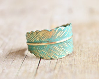Verdigris Feather Ring - Hand Forged Brass Feather Ring,Shabby Chic,Adjustable,Feather Jewelry,Wrap Ring,Patina,Bridesmaids Jewelry,Woodlan