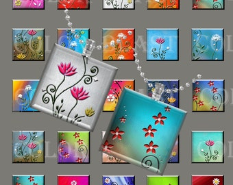 Abstract Flowers - INSTANT DOWNLOAD- 1x1 inch- Digital Collage Sheet. Printable images for glass pendants, magnets and more