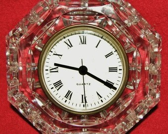 Vintage Waterford Clear Cut Crystal Clock Signed Quartz Clock Desk Mantle Shelf Clock