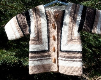 Sale: Baby Surprise Newborn Baby Sweater Handknit in Peru Baby Alpaca and Merino Wool Design in natural colors