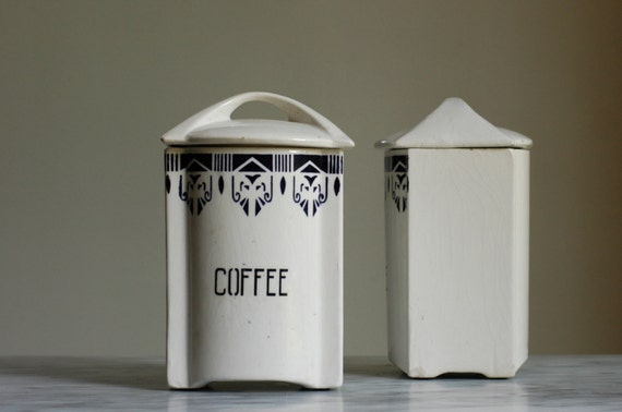 Vintage kitchen canisters in white ceramic art deco by bonnbonn - White ceramic canisters for the kitchen ...