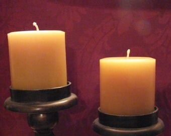 Pair of 3 inch by 3 inch pure beeswax pillar candles. Excellent in arrangements.....