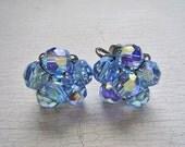 Vintage Blue Crystal Bead Earrings