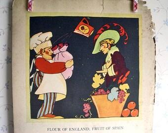 Vintage Art Deco Mother Goose Illustration - Flour of England, Fruit of Spain