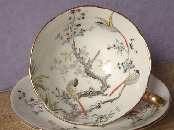 Antique bird tea cup and saucer set, vintage Royal Grafton English tea cup, hand painted bone china tea set