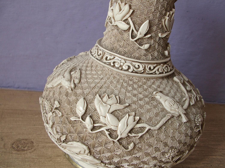 Vintage Oriental Vase Ivory Dynasty Brass Vase By Shoponsherman