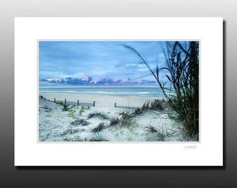 Ocean Sunrise Photography, Beach Cubicle art, Signed Matted Print, Ready for framing