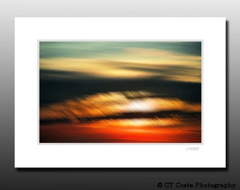 Sunset abstract photo, Abstract ocean art Print, orange, Signed Matted Print, Ready for framing