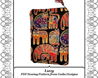 """PDF Sewing Pattern  for iPad 1, 2, 3 or 4, iPad Air 1,2, iPad Pro 9.7,  tablet or Kindle Fire HD 8.9""""  cover with zipper fully lined """"Lucy"""""""