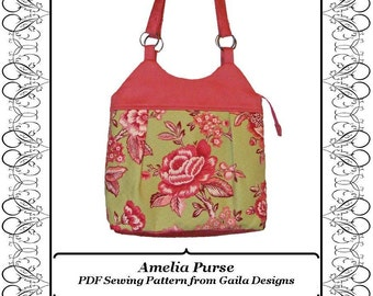 """Pieced Fabric Purse PDF Sewing Pattern with zipper, shoulder straps, lined """"Amelia"""""""