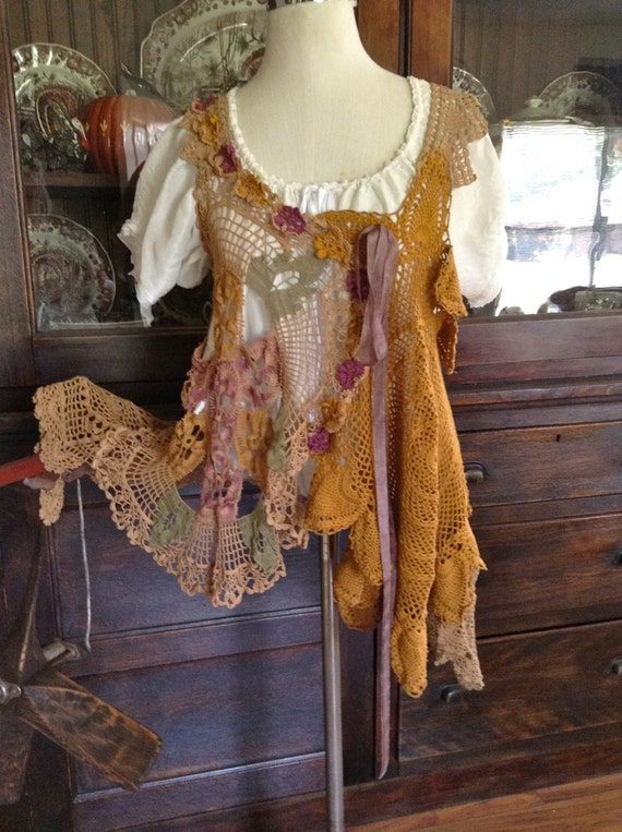 Lucy's Victorian Pansies Crochet Tunic by Luv Lucy
