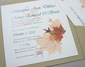 Fall Wedding Invitation Pocketfold Autumn Leaves Recycled Pocket Custom Invite Casual Square Pocket Green Brown Rust
