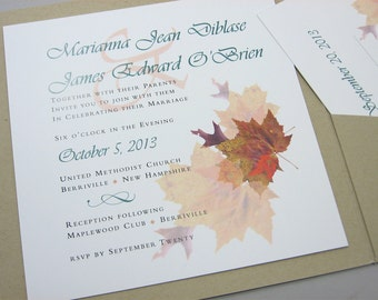 Fall Wedding Invitation Pocketfold Autumn Leaves Recycled Pocket Custom Invite Casual Square Pocket Green Brown Rust