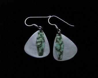 Silver, triangle dangle earrings with green and turquoise abstract medallion