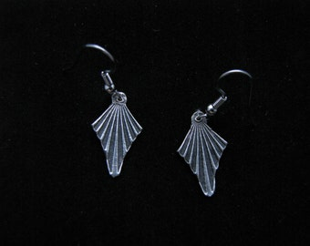 Silver, chevron, antique style, dangle earrings with black patina