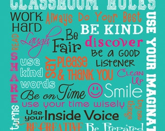 "CLASSROOM RULES SIGN - Personalized Teacher Gift - Canvas Word Art - Ready to Hang 10"" x 12"" Other sizes/colors available"