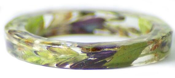 Tropical Jewelry- Flower Jewelry- Jewelry with Real Flowers- Dried Flowers- Purple Flowers- Purple Bracelet-Purple Jewelry-Green Jewelry