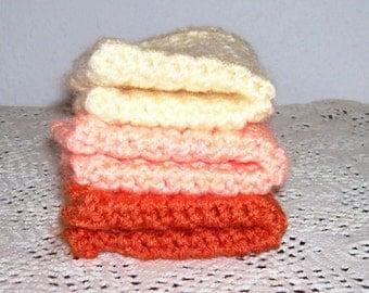 Orange Jubilee Set of 3 Crocheted Dishcloths in Orange, Peach, and Yellow