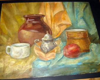 Vintage Old European oil painting Impressionism Still Life unsigned oil on chipboard