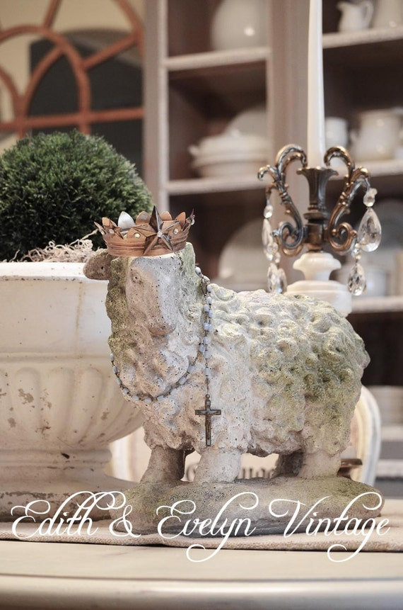Vintage Shabby Country French Sheep Statue