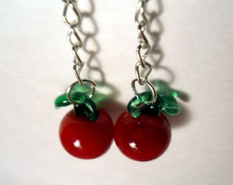 Glass Red Apple or Tomatoes or Cherry earrings on chain