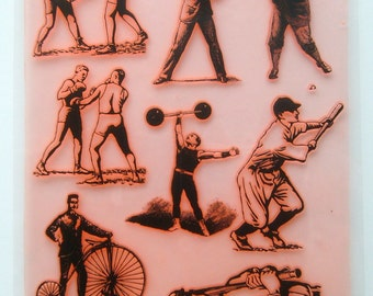 "Clear Stamps Large Sheet (7""x10"") Vintage Sport. FLONZ 403-20"