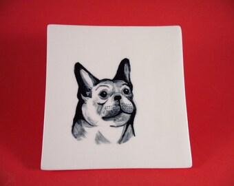 French Bulldog handpainted art on square porcelain dish