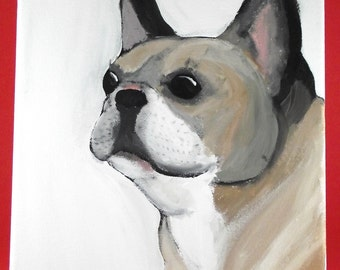 French Bulldog hand-painted Canvas 8x10""
