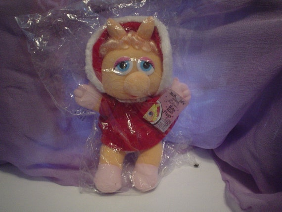 1987 Vintage Miss Piggy Baby Plush Doll still in the Bag
