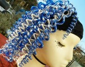 "RESERVED Cobalt Blue and White ""Pig-Tail"" Curled Dread Falls"