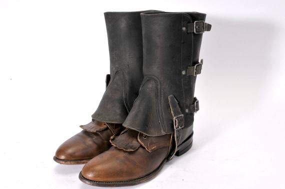 Vintage Steampunk Leather Spats