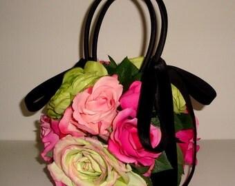 SALE Pink ROSES Handbag, Pink & Green Silk Millinery Floral, Designer Black Velvet Ribbon Black Satin, Wedding,Garden Party,Evening Purse