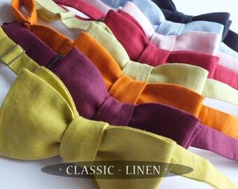 Linen Bow Tie - solid color - bowties you tie  -  Modern Wedding - Groomsmen - freestyle bowties / self tie, mens adjustable - Bagzetoile