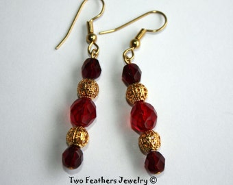 Garnet Red And Gold Beaded Earrings - Bridesmaid Gift - Bridal Jewelry - Czech Glass Earrings - Gift For Her - December Wedding - Christmas