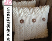 Knit pattern pdf, Cable knit pillow cover pattern, Blackberry Cables 16 x 16 pillow cover - PDF KNITTING PATTERN