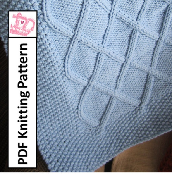 Diamond Afghan Knitting Pattern : Baby Blanket Knitting Pattern PDF Knitting Pattern Diamond