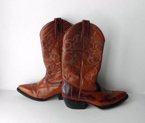 Cowboy Boots Vintage Eel Skin and Leather Brown Dos de Oro