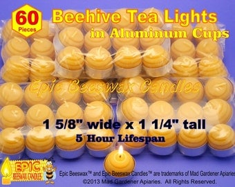 Beehive Tealight Candles In Aluminum Cups, 60 Bee Hive Beeswax Tea Light Candles In Tealight Cups, Beeswax Tealights, Bulk Tea Lights