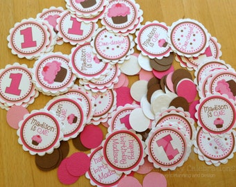 Personalized Table Confetti, Pink Cherry Cupcake Confetti -Table Minis -Cupcake Party -Cupcake Birthday -1st Birthday