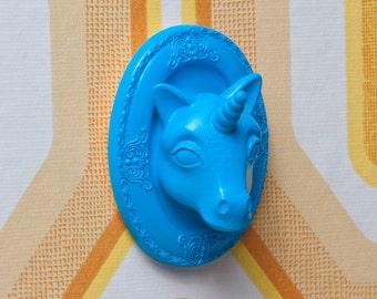 unicorn wall art /  jewelry display - electric blue