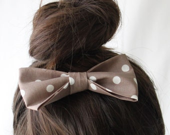 Large Fabric Hair Bow Mocha Dot- Hair Clip